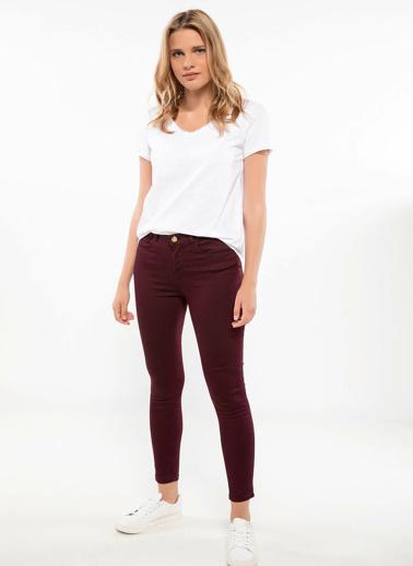 DeFacto Anna Yüksek Bel Super Skinny Fit Pantolon Bordo
